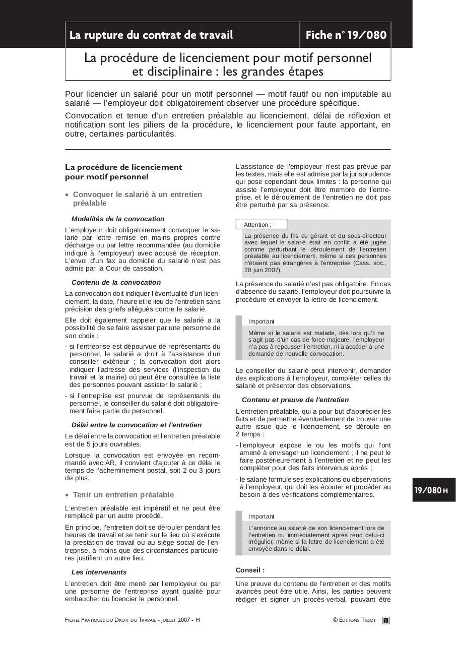 La Procedure De Licenciement Pour Motif Personnel Et Disciplinaire