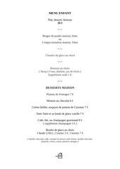 menu enfant et dessert 20012017