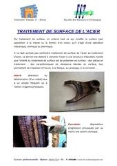 traitement de surface des aciers