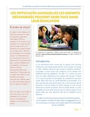 difficultes enfants defavorises education