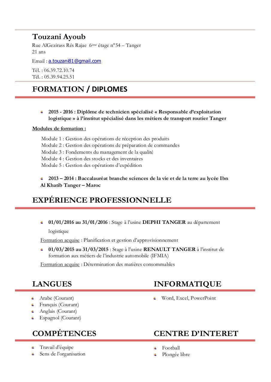 cv job 2016 1  par touzani ayoub