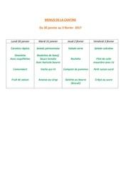 menus de la cantine 30janv