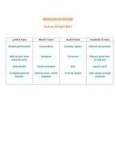 menus de la cantine 6 mars