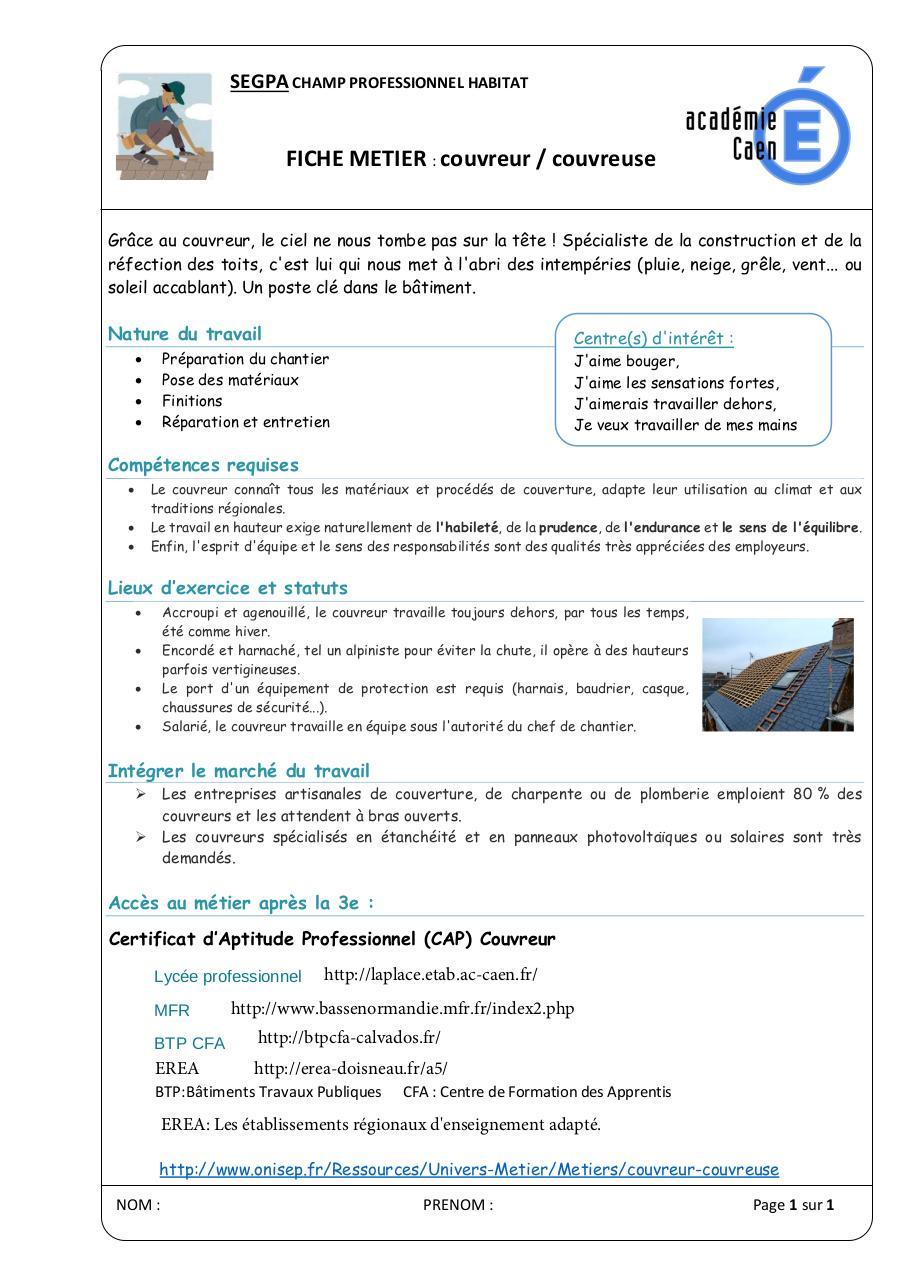 03 Fiche Metier Couvreur Par Nicolas Bouquet Fichier Pdf