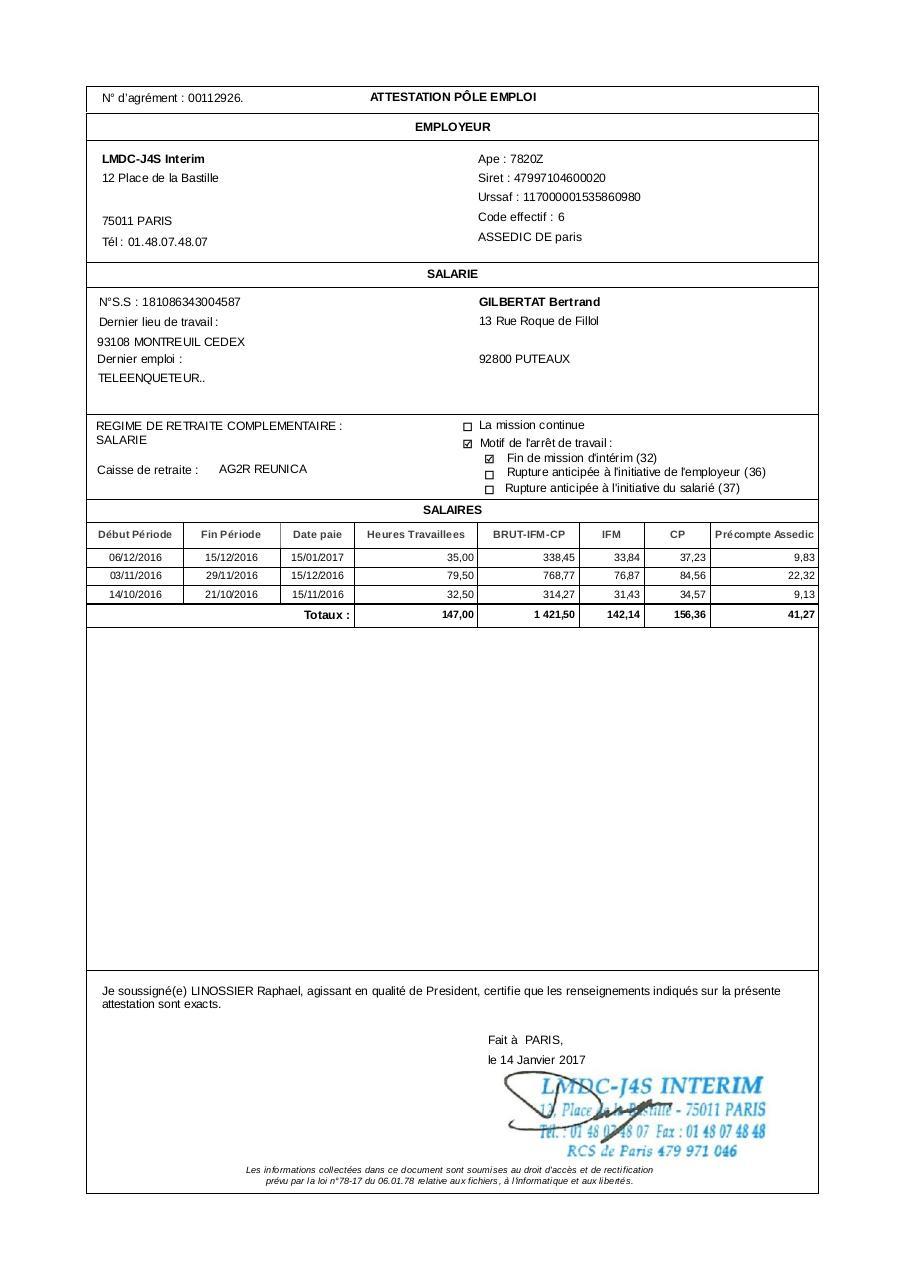 pole emploi  attestation employeur pole emploi pdf remplissable
