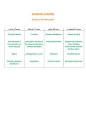 menus de la cantine 20 mars