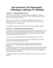 reglement concours fb molotov ushuaia