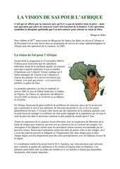 la vision de sai baba pour l afrique