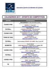 calendrier 2017 sports de competition