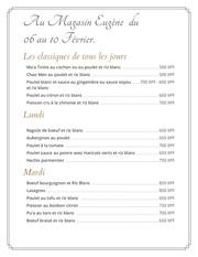 menu du 06 au 10 fev 17