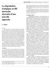 degradation ecologique au rif marocain
