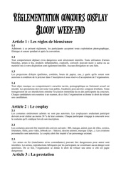reglement concours bloody week end