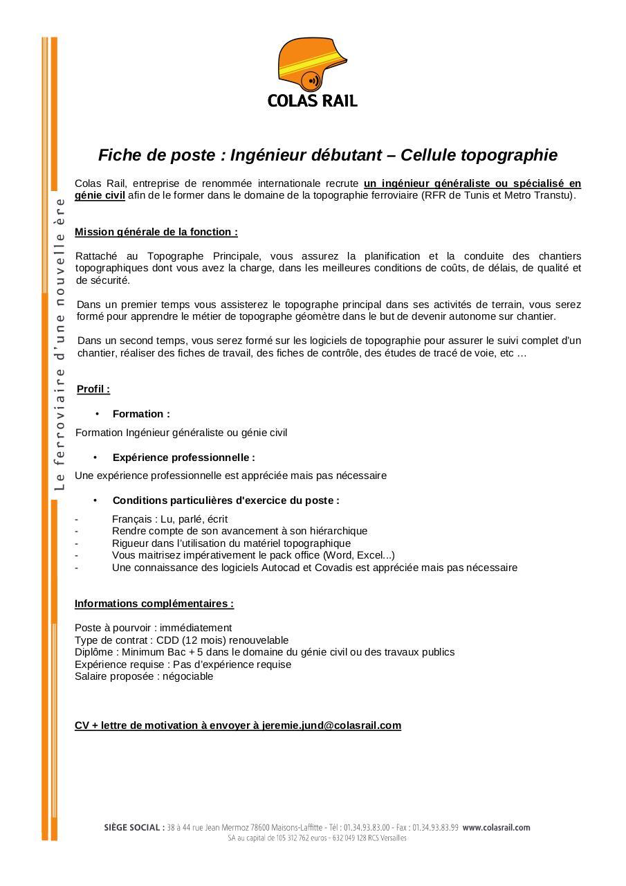 Fiche De Poste Ingenieur Debutant Cellule Topographie Colas Rail Par