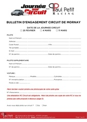 bulletin d engagement journee sur circuit