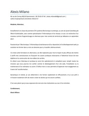 lettre de motivation milano alexis