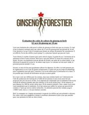 evaluation cout culture du ginseng