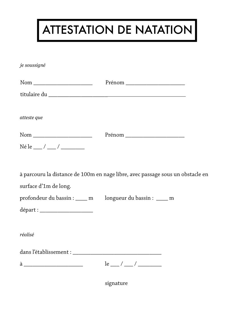 modele attestation natation - Document Online