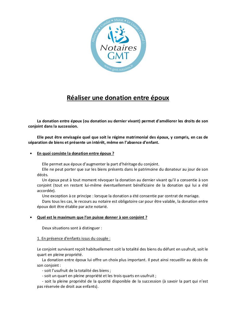 R 351aliser Une Donation Entre 351poux Docx Par Nicolas Realiser