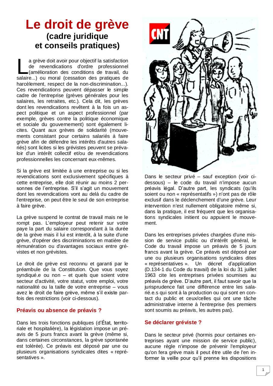 code du travail droit de greve