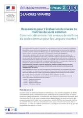 ressources evaluation niveau maitrise socle commun lv 645522