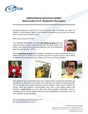 fsq reglementation du port de lunettes au soccer