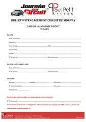bulletin d engagement journee circuit mornay