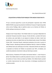itv acquiert le producteur francais tetra media studio
