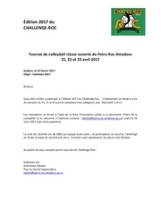 challenge roc inscription 2017