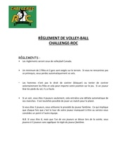 reglement volley challenge roc