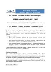 appel prix national femmes science et technologie 2017
