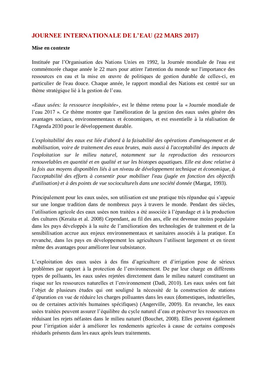 Aperçu du document JOURNEE INTERNATIONALE DE L'EAU 2017.pdf - page 1/3