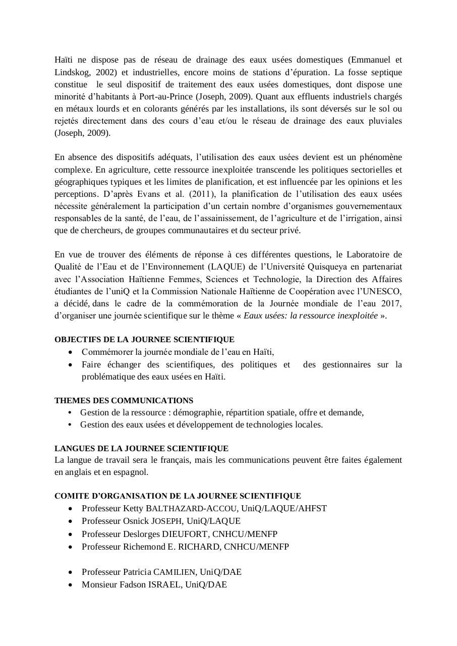 Aperçu du document JOURNEE INTERNATIONALE DE L'EAU 2017.pdf - page 2/3