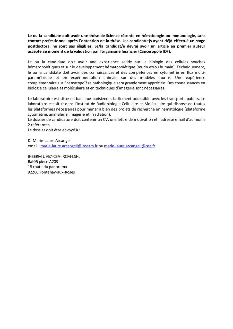 Annonce Postdoc Par Arcangeli Marie Laure 244158 Collaborateur