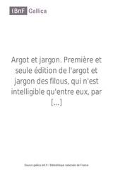 argot et jargon premiere et pierre alexandre