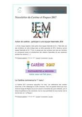 newsletter du careme et paques 2017