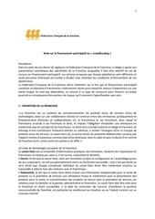 note sur le financement participatif fff