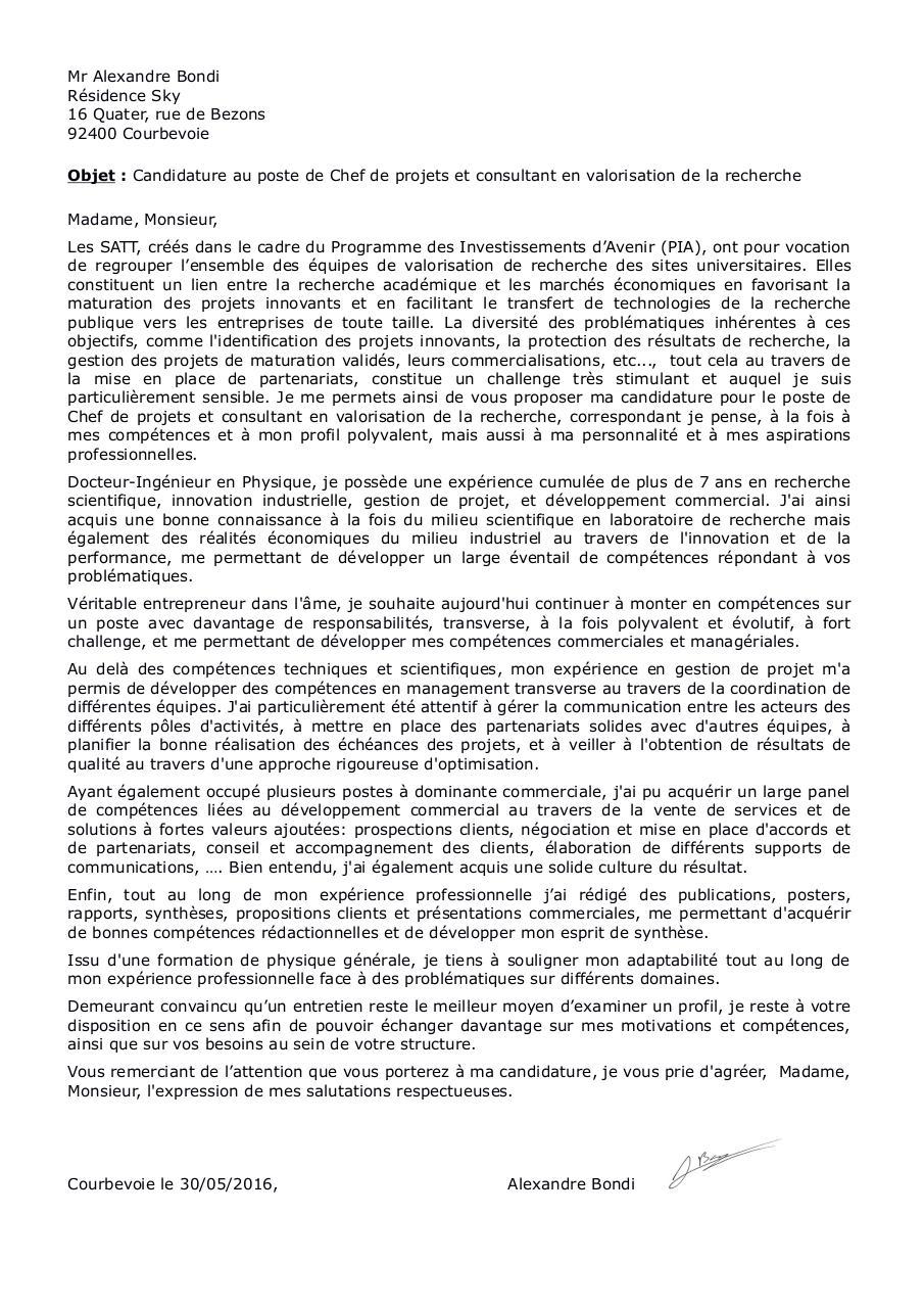 Lettre De Motivation Chargé D Affaires Transfert