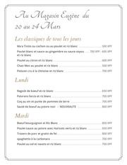 menu eugene 20 au 24 mars