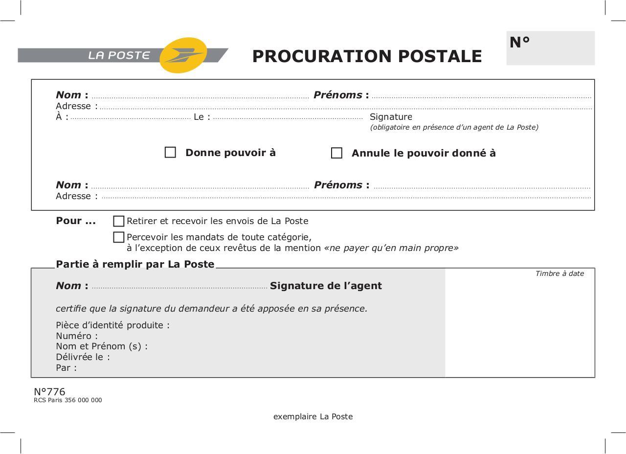 Procuration postale - Fichier PDF