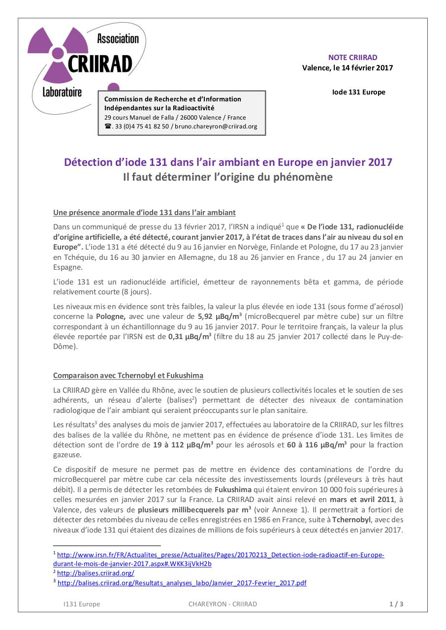 Aperçu du document 17-02-14 CRIIRAD I131 Europe.pdf - page 1/3