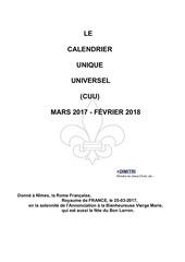 Fichier PDF calendrier unique universel 2017 2018