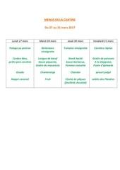 menus de la cantine 27 mars