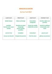 Fichier PDF menus de la cantine 3 avril