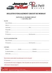 bulletin d engagement circuit de mornay