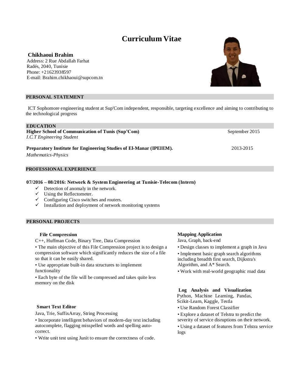 Curriculum Vitae Par Mohamed Fichier Pdf