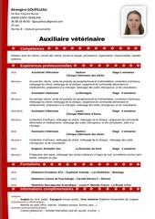 cv berengere goupilleau auxiliaire veterinaire