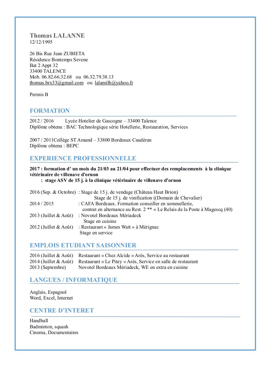 cv informatique par mathieu boyer - cv stage informatique pdf - page 1  1
