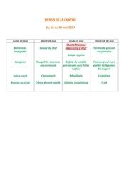 menus de la cantine 15 mai