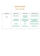 menus de la cantine 8 mai