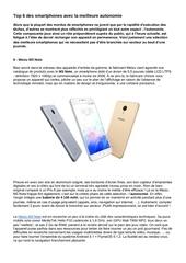 article top 6 smartphones meilleure autonomie